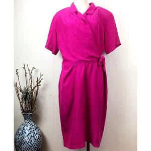 Vintage Oleg Cassini 100% Silk Wrap Pink Dress